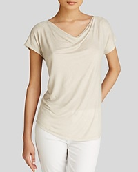 Majestic Metallic Cowl Neck Tee Pale Gold