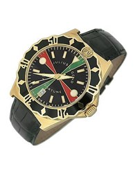 Julius Legend Sea Fortune Diver 18K Gold And Leather Watch Black