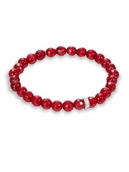 Sydney Evan Red Agate Diamond And 14K White Gold Rondelle Beaded Stretch Bracelet