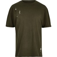 River Island Dark Green Laddered Drop Shoulder T Shirt