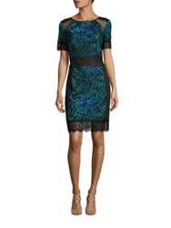 Tadashi Shoji Short Sleeve Lace Cocktail Dress Deep Ocean Black