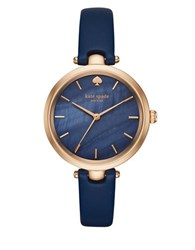 Kate Spade Holland Rose Goldtone Stainless Steel And Leather Strap Watch Navy Blue