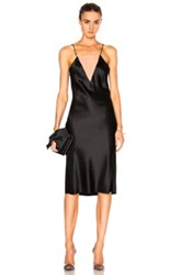 Fleur Du Mal Double Neckline Slip Dress In Black