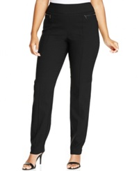 Style And Co. Plus Size Zip Pocket Skinny Pants Deep Black