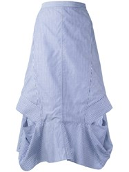 Chalayan A Line Frill Skirt Women Cotton 40 Blue