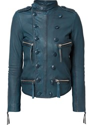 Faith Connexion Double Breasted Effect Biker Jacket Blue