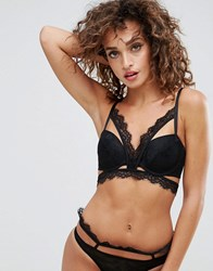 Asos Marilyn Lace Caged Moulded Underwire Bra Black