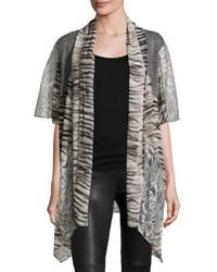 Alberto Makali Mixed Print Open Front Cardigan Grey