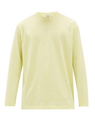 Y 3 Applied Logo Long Sleeved Cotton Jersey T Shirt Light Yellow