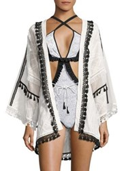 Jonathan Simkhai Tassel Embroidered Cardigan White Multicolor