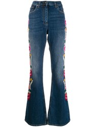 Etro Floral Embroidered Flared Jeans Blue