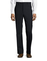Lauren Ralph Lauren Wool Blend Flat Front Pants Navy