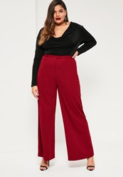 Missguided Plus Size Red Wide Leg Trousers Plum