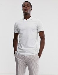 Selected Homme Pique Revere Collar Polo Shirt With Tipped Collar In White