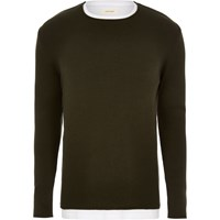 River Island Mens Dark Green Layered Longline Jumper
