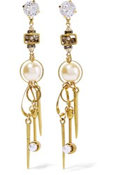 Erickson Beamon Gold Plated Swarovski Crystal And Faux Pearl Earrings