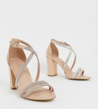 New Look Diamante Strapping Detail Sandal In Rose Gold