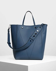 Charles And Keith Classic Tote Bag Blue