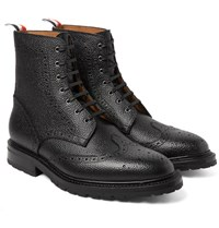 Thom Browne Pebble Grain Leather Wingtip Brogue Boots Black