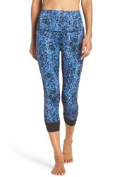 Zella Women's 'En Pointe' High Waist Print Crop Leggings Blue Ultra Shatter Print