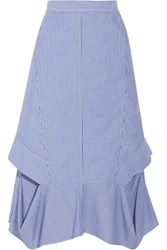 Chalayan Cutout Striped Cotton Poplin Midi Skirt Blue