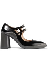 Prada Two Tone Rubber And Leather Pumps Black