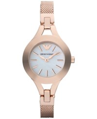Emporio Armani Women's Rose Gold Tone Stainless Steel Mesh Bracelet Watch 28Mm Ar7329