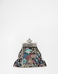 Moyna Silk Clutch With Floral Embroidery Detail Black