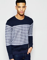 Pull And Bear Striped Sweatshirt In Navy And White Navy Blue
