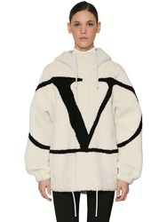 Valentino Vlogo Intarsia Hooded Shearling Jacket Array 0X575bc70