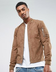 Selected Homme Suede Bomber Jacket Beige