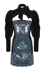 Rasario Sequin Mini Dress With Velvet Sleeves Blue
