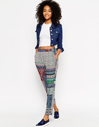 Asos Woven Harem Trousers In Bright Aztec Print Multi