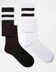 Urban Eccentric Sports Style Crew Socks In 2 Pack Longer Length Multi