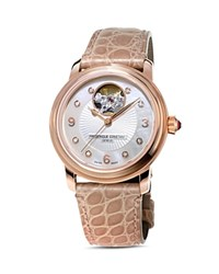 Frederique Constant Heart Beat Diamond Watch 34Mm White Tan