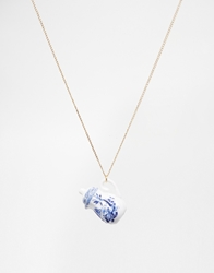 And Mary Necklace With Porcelain Coffee Pot Charm