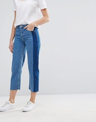 Warehouse Stripe Detail Cropped Jeans Mid Wash Blue