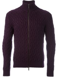 Etro Cable Knit Cardigan Pink And Purple