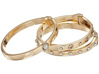 Guess Three Piece Hinge Bangle Set With Studs Two Tone Gold Silver Bracelet