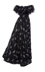 Christian Siriano Blue Jay Embroidered Multi Tiered Gown Black