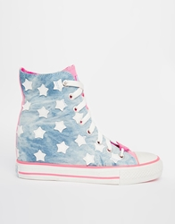 Skechers Gimme Starry Skies Wedge Trainers Blue