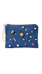 Venessa Arizaga Snack Attack Clutch Bag Denim Multi