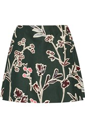 Marni Floral Print Cotton And Silk Blend Mini Skirt Green