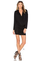 Krisa Surplice Sheered Mini Dress Black