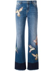 Red Valentino Birds Patch Straight Jeans Blue