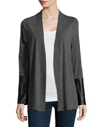 Neiman Marcus Faux Leather Inset Jersey Cardigan Lead Heather Gray