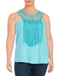 Jessica Simpson Plus Tae Fringe Trimmed Tank Top Blue
