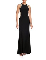 Xscape Evenings Embellished Mesh Accented Gown Black Nude Silver