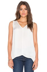 Velvet By Graham And Spencer Venus Satin Viscose V Neck Tank Ivory