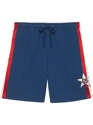 Gucci Cotton Jersey Shorts With Gg Star Blue